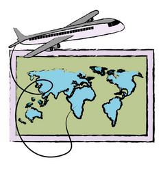 world paper map with airplane vector image