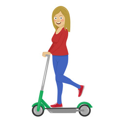 young woman riding her electric scooter vector image