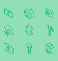 blockchain outline isometric icons vector image vector image