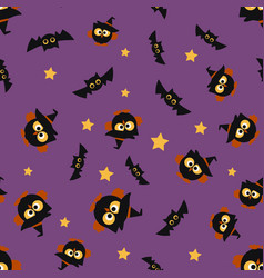 halloween pattern with owl vector image vector image