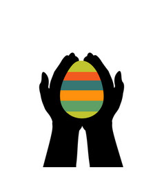 hands hold easter egg colorful vector image vector image