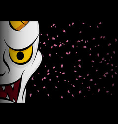 Hanya mask evil ghost face on black with sakura vector