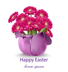 happy easter daisy flowers bouquet card spring vector image vector image