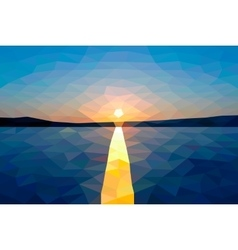 Low poly sunset on the winter lake vector image vector image