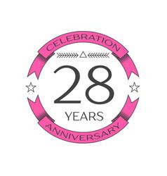 twenty eight years anniversary celebration logo vector image