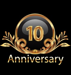 10 years anniversary birthday in gold vector image vector image