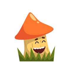 cute funny boletus mushroom character with funny vector image vector image