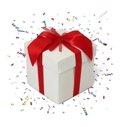Gift box on white background with confetti vector image