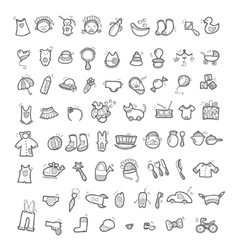 Big set of handwritten icons of childhood things vector image