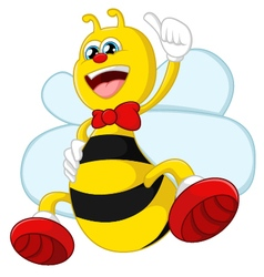Cartoon bee giving thumb up vector image