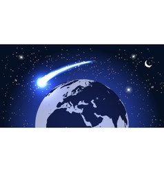 Comet Fly Around the Planet in Space vector image vector image