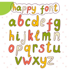 Hand drawn alphabet happy font vector image vector image