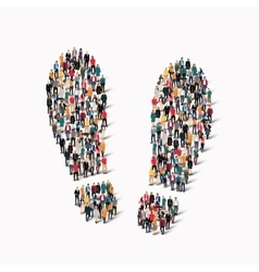 large group people shape traces vector image vector image
