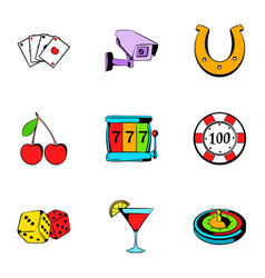 Roulette icons set cartoon style vector