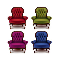 set of vintage armchairs vector image