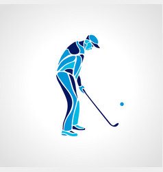 silhouette of golf player in blue colours vector image vector image