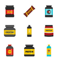 sport food icons set flat style vector image vector image