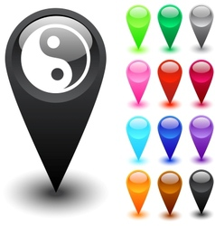 Ying yang button vector image vector image
