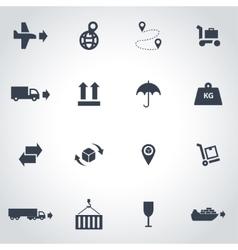 black logistic icon set vector image vector image