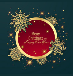 christmas ball holiday round frame happy new vector image