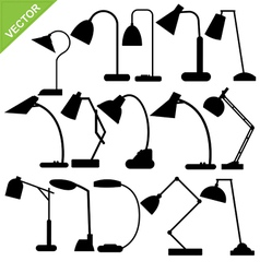 desk lamp silhouettes vector image