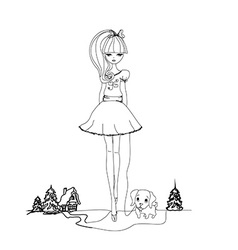 Girl and her puppy doodle vector image vector image