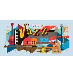 Jazz music instruments background vector