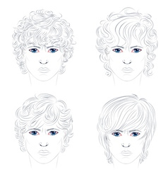Male Curly Hairstyles vector image vector image