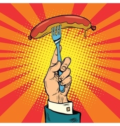 Sausage on a fork street food vector image vector image