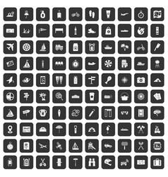 100 journey icons set black vector
