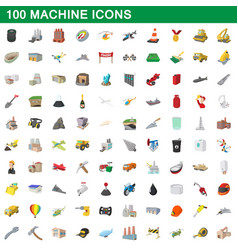 100 machine icons set cartoon style vector image