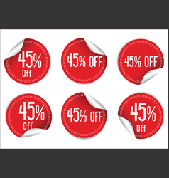 45 percent off red paper sale stickers vector image