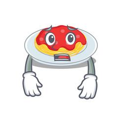 afraid spaghetti character cartoon style vector image