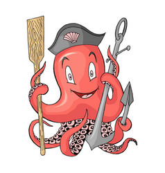 anchor with octopus cartoon colored character vector image