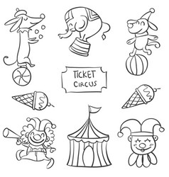 art of circus element doodles vector image