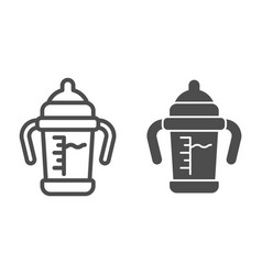 Baby sippy cup line and glyph icon bottle with vector