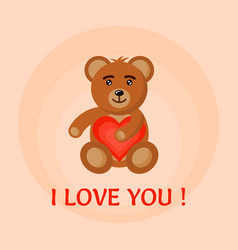 Bear toy hold heart in hands vector