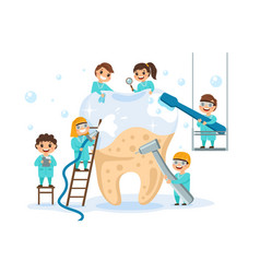 big tooth with small dentists little children vector image