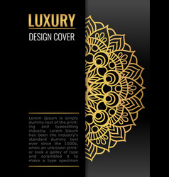 Black cover with gold beautiful mandala golden vector
