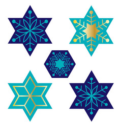 Blue jewish star snowflakes vector