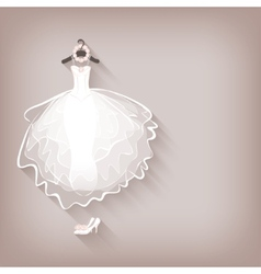 Bride dress and wreath vector
