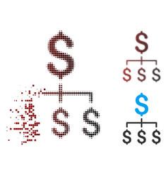 broken pixel halftone financial hierarchy icon vector image