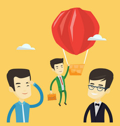 business man hanging on balloon vector image