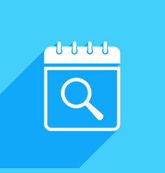 Calendar icon with research sign vector