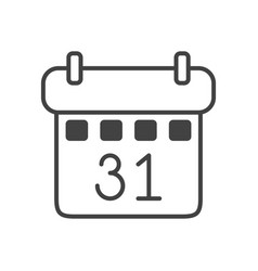 Calendar with 31 number isolated icon vector