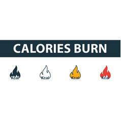 Calories burn icon set premium symbol in vector