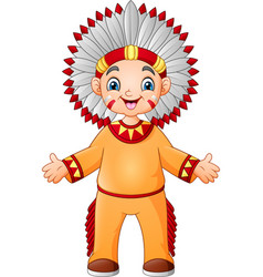 cartoon boy native american indian with traditiona vector image