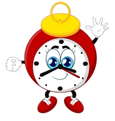 Cartoon clock waving hand on white background vector