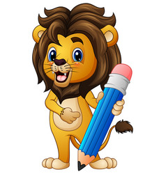 Cartoon lion holding a pencil vector
