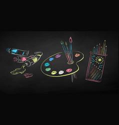 chalk drawn set artists supplies vector image